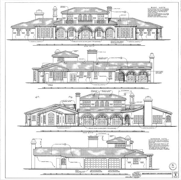 mediterranean house plan - elevations