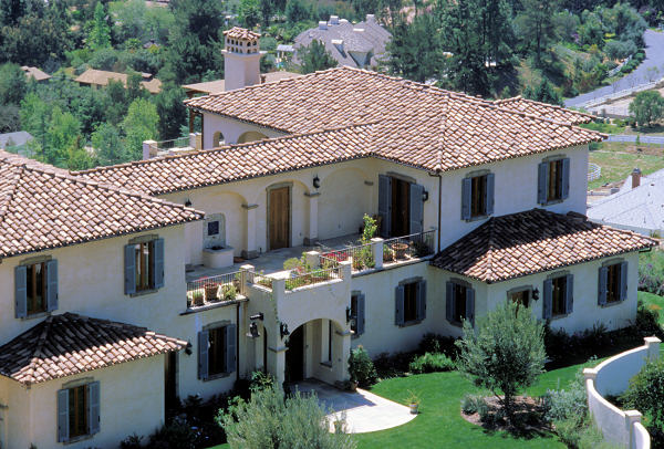 Close Up Front View Of Tuscan Residence
