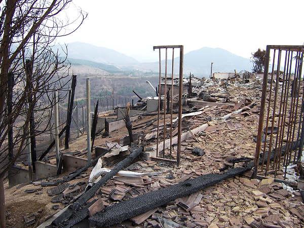 brushfires - burned house